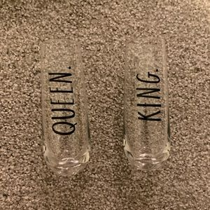 Rae Dunn king and queen stemless glasses